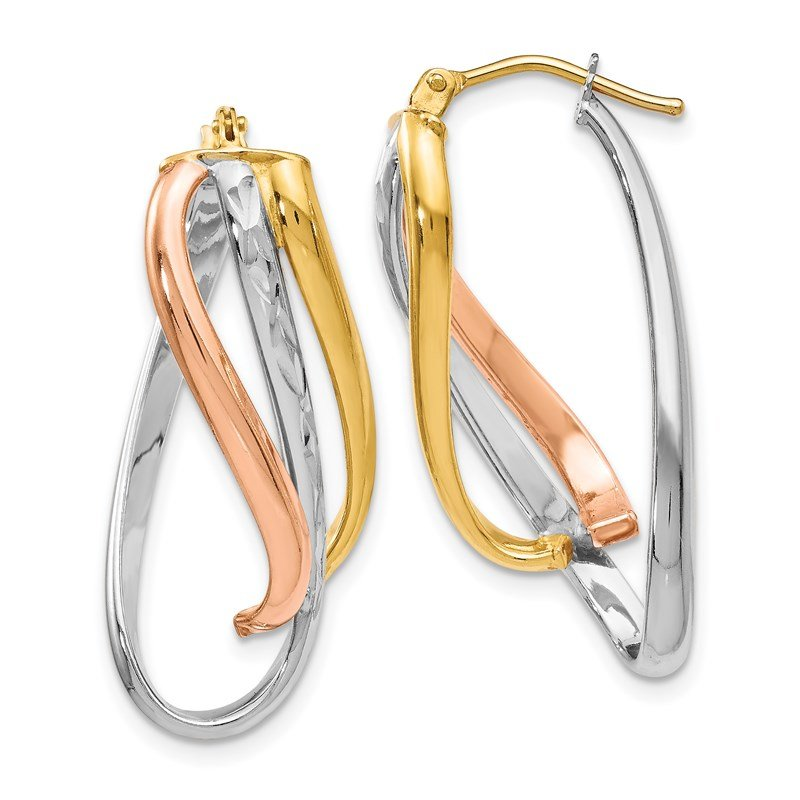 Leslie's Leslie's 14K Tri-color Polished Twisted D/C Hinged Hoop Earrings