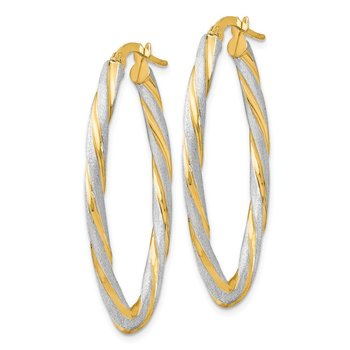 Leslie's 14k & White Rhodium Polished & Satin Twisted Oval Hoop Earrings