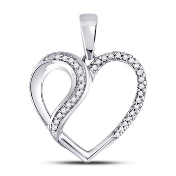 10kt White Gold Womens Round Diamond Heart Fashion Pendant 1/10 Cttw