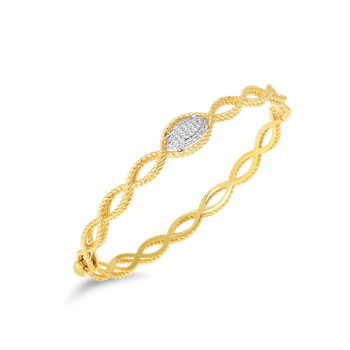 1 Row Bangle With Diamonds &Ndash; 18K Yellow Gold
