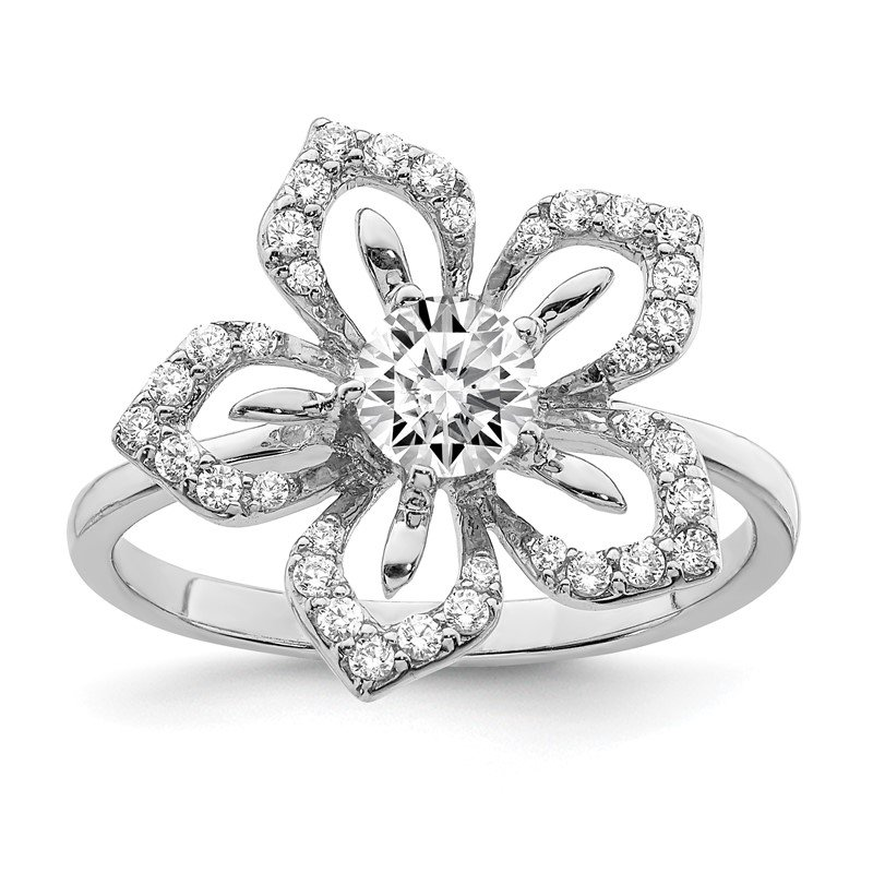 Lester Martin Online Collection Sterling Silver Rhodium Plated CZ Flower Ring
