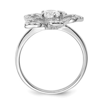 Sterling Silver Rhodium Plated CZ Flower Ring