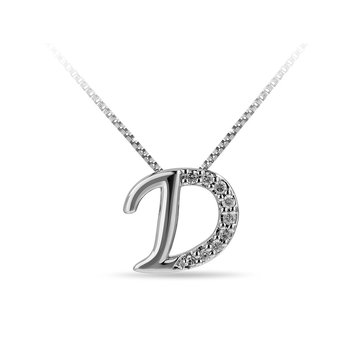 "10K WG and diamond cursive alphabet D ""Chain Sliding "" pendant in prong setting"