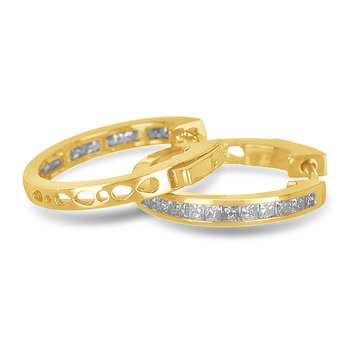 14K YG Diamond Hoops and Huggies Earring. Princess shape in channel setting