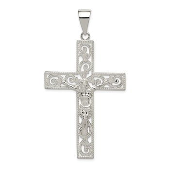 Sterling Silver Polished Beaded Filigree Crucifix Pendant