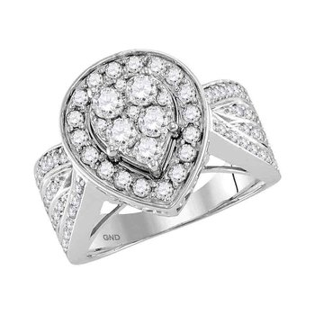 14kt White Gold Womens Round Diamond Teardrop Cluster Bridal Wedding Engagement Ring 1-1/2 Cttw