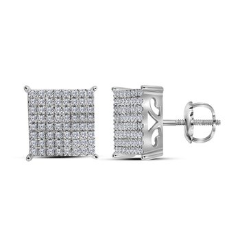 10kt White Gold Womens Round Diamond Cindys Dream Square Cluster Stud Earrings 1.00 Cttw
