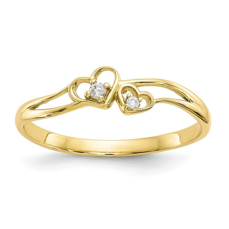 Quality Gold 10k CZ Double Heart Ring