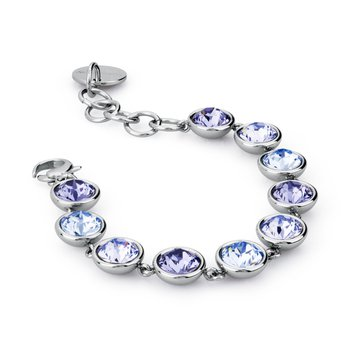 316L stainless steel and lavander, tanzanite and light sapphire Swarovski® Elements