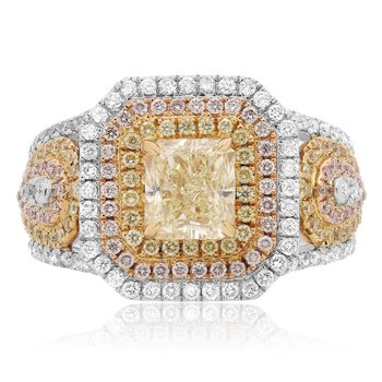 Tri-Color Assher Diamond Ring