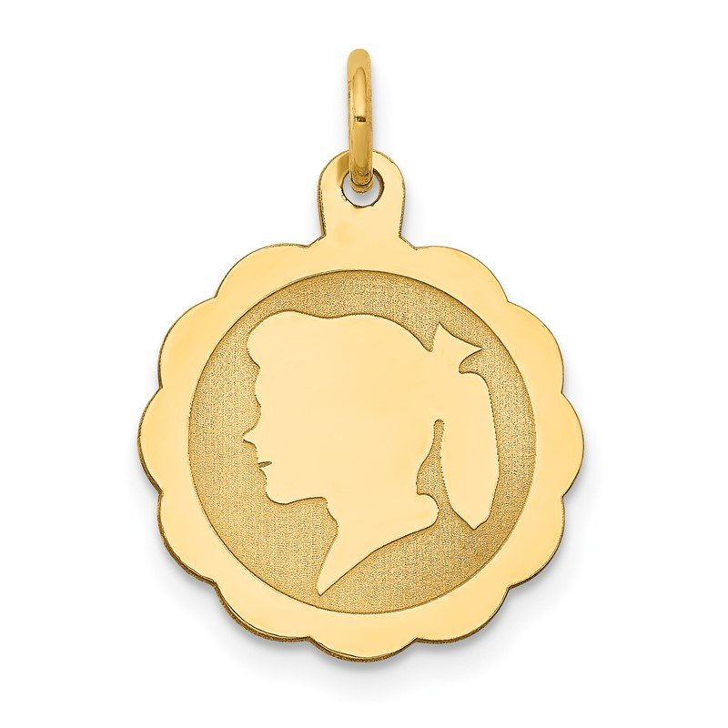 Quality Gold 14k Girl Head on .009 Gauge Engravable Scalloped Disc Charm