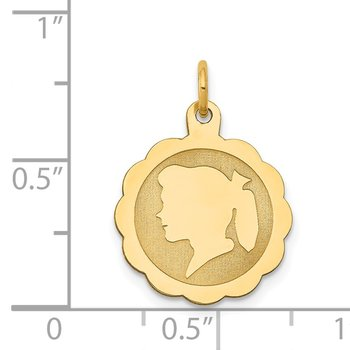 14k Girl Head on .009 Gauge Engravable Scalloped Disc Charm