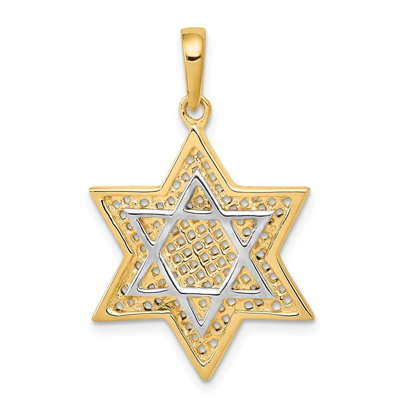 Quality Gold 14K w/Rhodium Solid Mesh Star Of David Charm