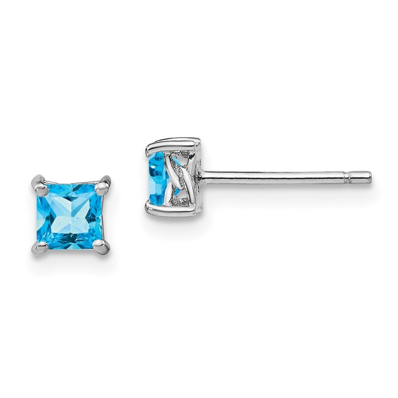 Quality Gold Sterling Silver 4mm Princess Swiss Blue Topaz Post Earrings