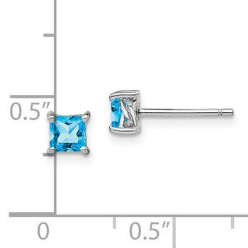 Sterling Silver 4mm Princess Swiss Blue Topaz Post Earrings