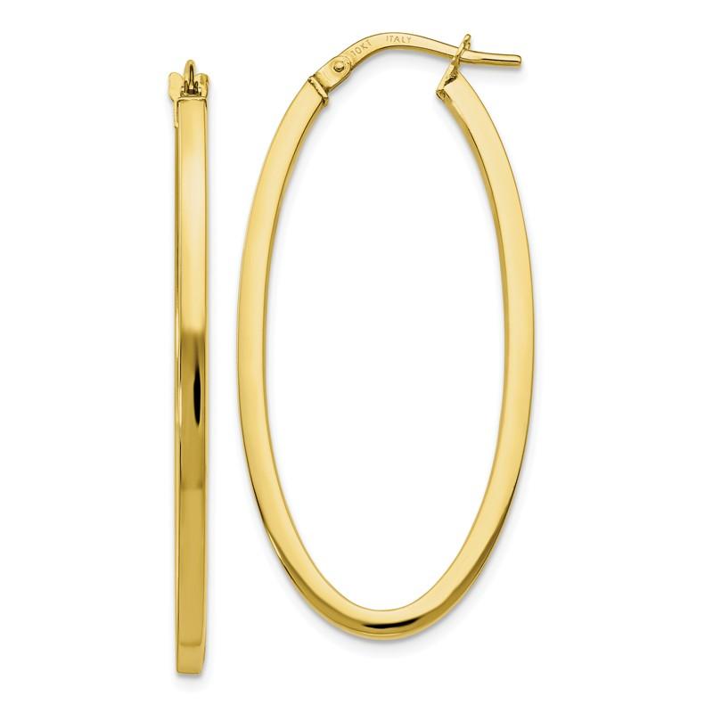 Leslies 10k Polished Oval Hinged Hoop Earrings