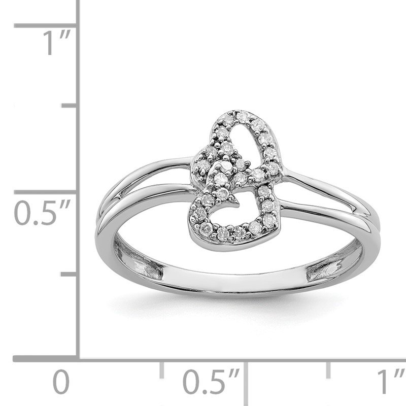 Quality Gold Sterling Silver Rhodium Diam. Heart Ring