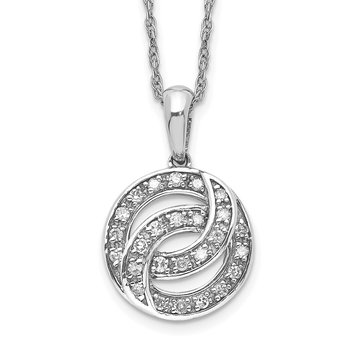 Sterling Silver Rhodium Plated Diamond Circle Necklace