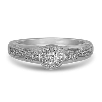14K WG Diamond Engagement mini bridal halo Ring in Pave Setting