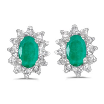 10k White Gold Oval Emerald And Diamond Earrings