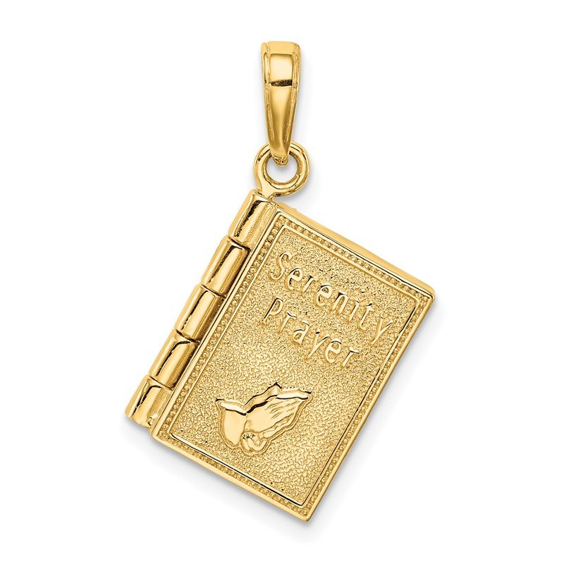 Quality Gold 14K 3-D Moveable Pages Serenity Prayer Book Pendant