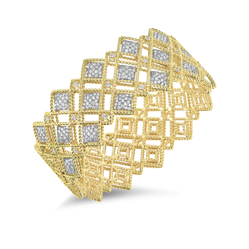 Roberto Coin 18Kt Gold 3 Row Diamond Pattern Bangle
