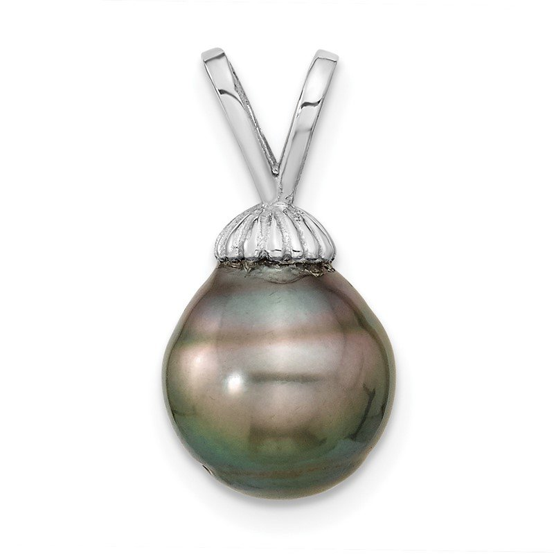 Quality Gold 14k White Gold 9-10mm Teardrop Saltwater Cultured Tahitian Pearl Pendant