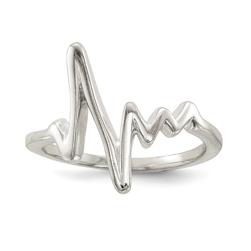 Quality Gold Sterling Silver Polished Fancy Heartbeat Ring