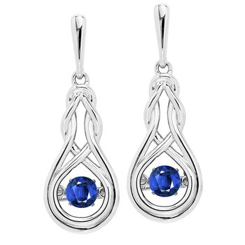 Silver Created Sapphire Rhythm Of Love Earrings