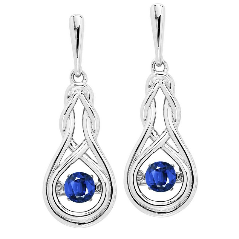 Rhythm of Love Silver Created Sapphire Rhythm Of Love Earrings