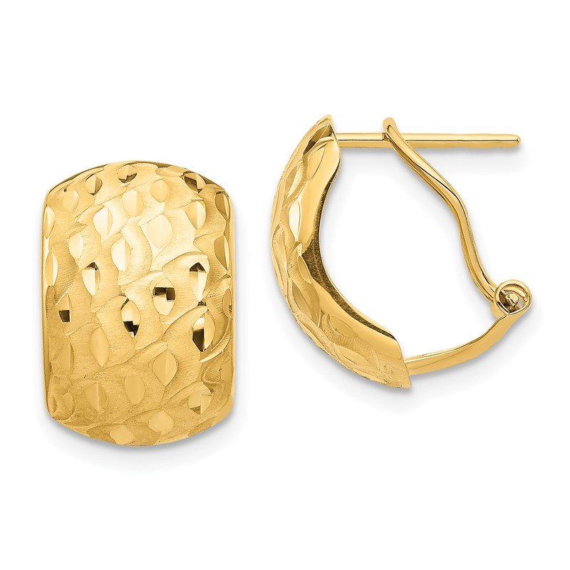 Quality Gold 14K Textured Omega Back Earrings
