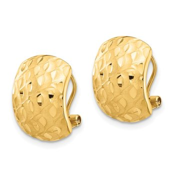 14K Textured Omega Back Earrings