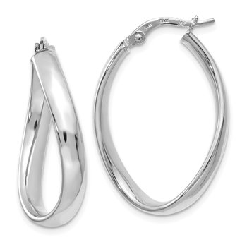 Leslie's 14k White Gold Oval Polished Hoop Earrings