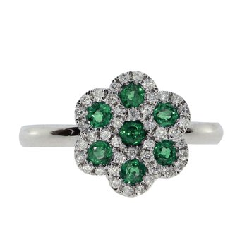 14k White Gold Emerald and  Diamond Flower Ring