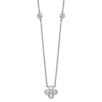 Sterling Silver Rhodium-plated Polished CZ Flower with 2in ext. Necklace