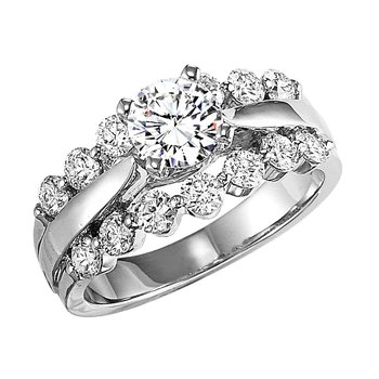 14K Diamond Engagement Ring 1 ctw with 1 ct Center