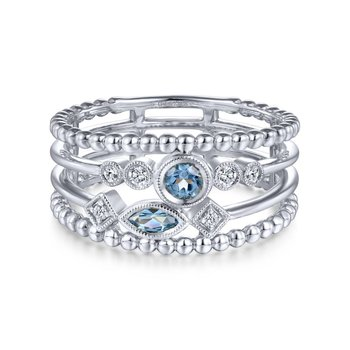 14k White Gold Swiss Blue Topaz & Diamond Ladies Ring
