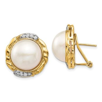 14K 13-14mm White Saltwater Cultur Mabe Pearl .16ct Dia Omega Back Earrings