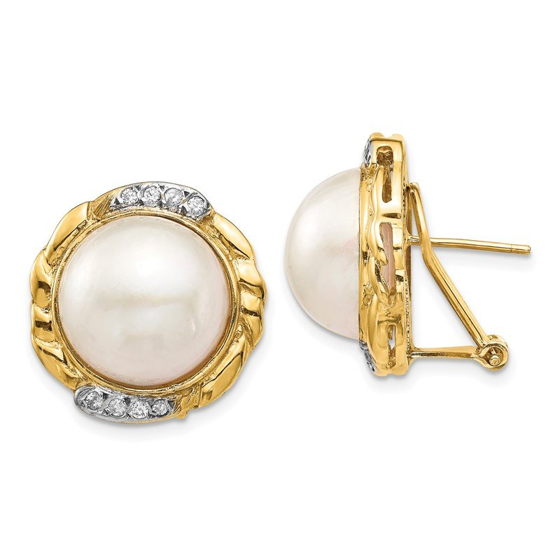 Quality Gold 14K 13-14mm White Saltwater Cultur Mabe Pearl .16ct Dia Omega Back Earrings