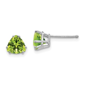 14k White Gold 6mm Trillion Peridot Earrings