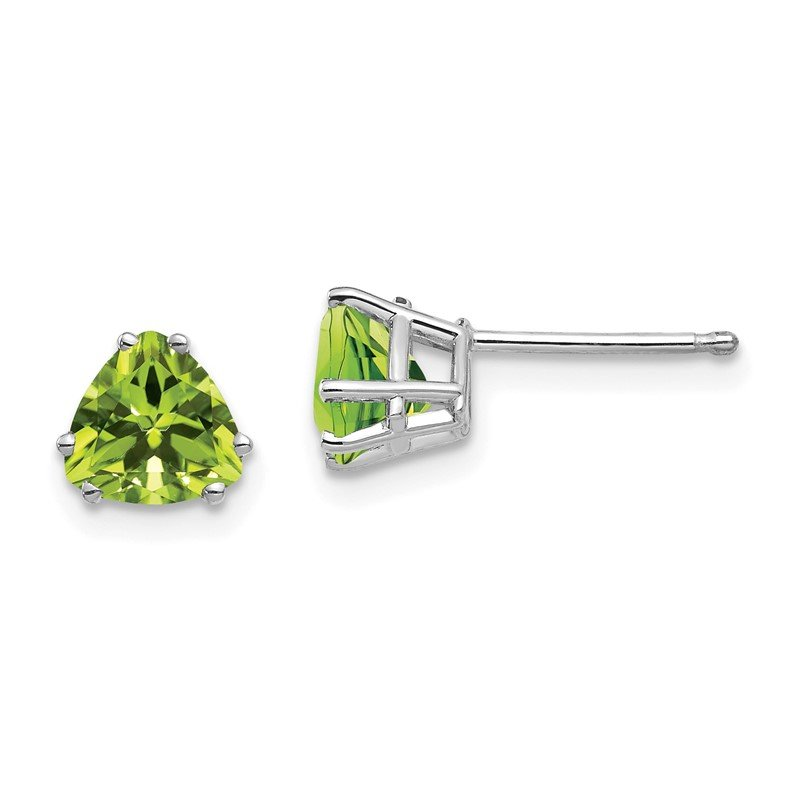 Arizona Diamond Center Collection 14k White Gold 6mm Trillion Peridot Earrings