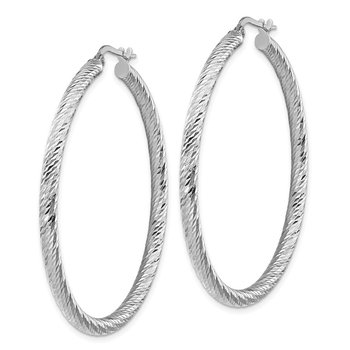 14k 3x40mm White Gold Diamond-cut Round Hoop Earrings