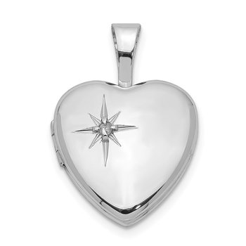 Sterling Silver Rhodium-plated Polished Diamond Star 12mm Heart Locket
