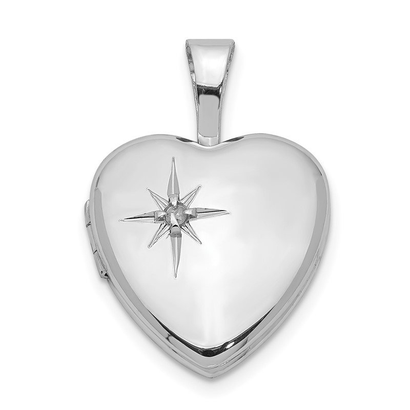 Quality Gold Sterling Silver Rhodium-plated Polished Diamond Star 12mm Heart Locket