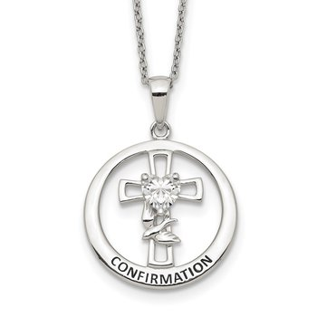 Sterling Silver Enameled CZ Heart Cross Confirmation Necklace