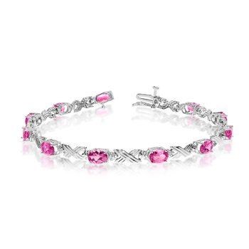 10K White Gold Oval Pink Topaz and Diamond Bracelet