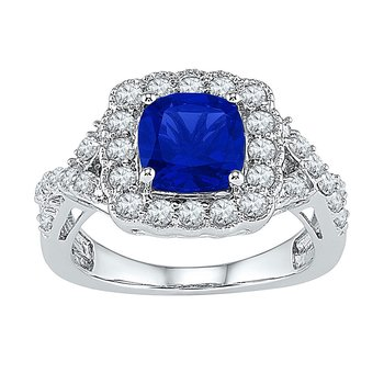 10kt White Gold Womens Princess Lab-Created Blue Sapphire Solitaire Ring 3-3/4 Cttw