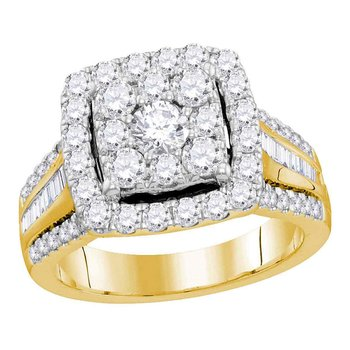 10kt Yellow Gold Womens Round Diamond Square Cluster Bridal Wedding Engagement Ring 1-5/8 Cttw (Certified)