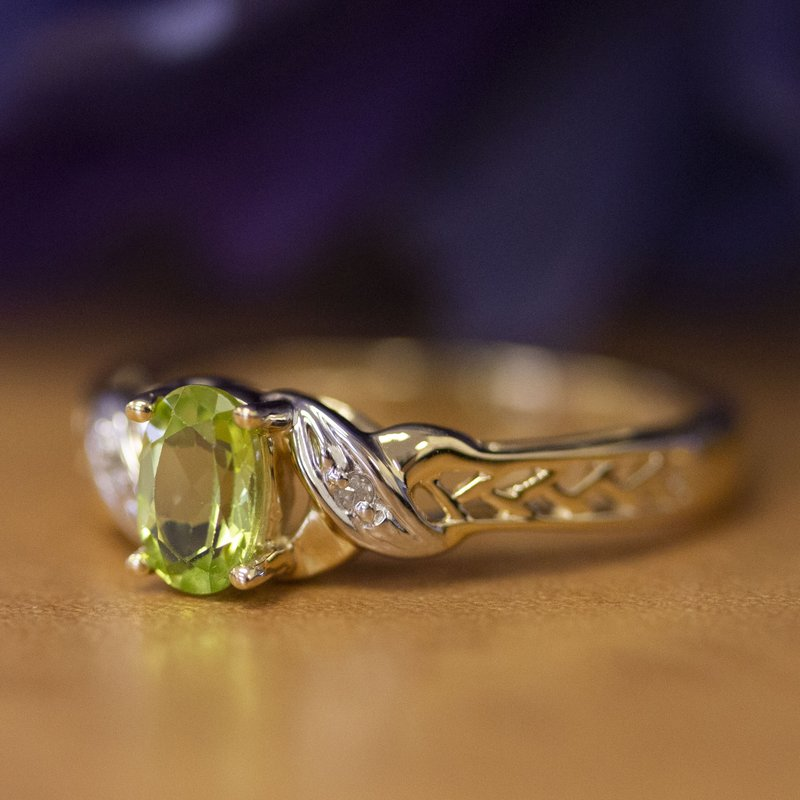 Color Merchants 14k Yellow Gold Oval Peridot And Diamond Ring