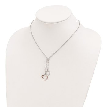 Sterling Silver Rose-tone Polished Textured 2-Heart Necklace